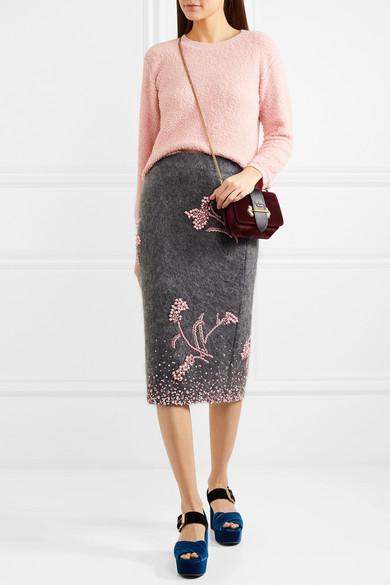 Embellished Mohair-Blend Pencil Skirt