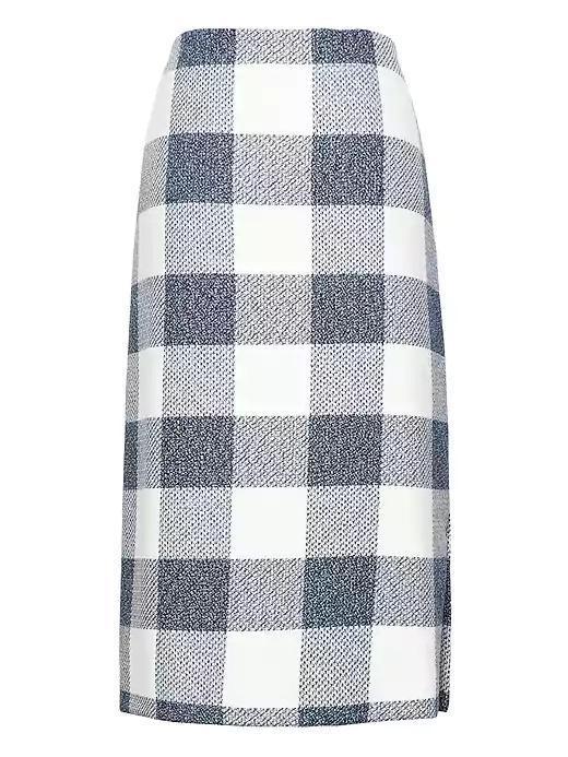 Gingham Pencil Skirt With Side Slit Blue