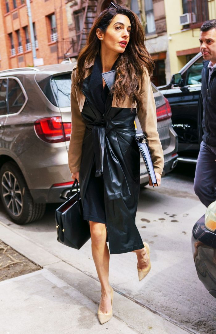 Amal Clooney Alexander Wang Leather Trench Coat Who What
