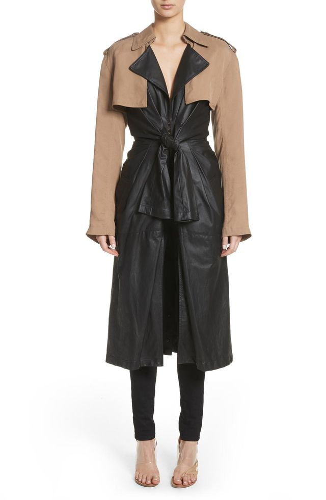 Tie Front Leather & Twill Trench Coat