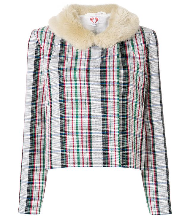 checked jacket with faux fur collar