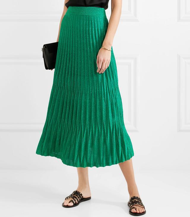 Pleated Metallic Knitted Midi Skirt