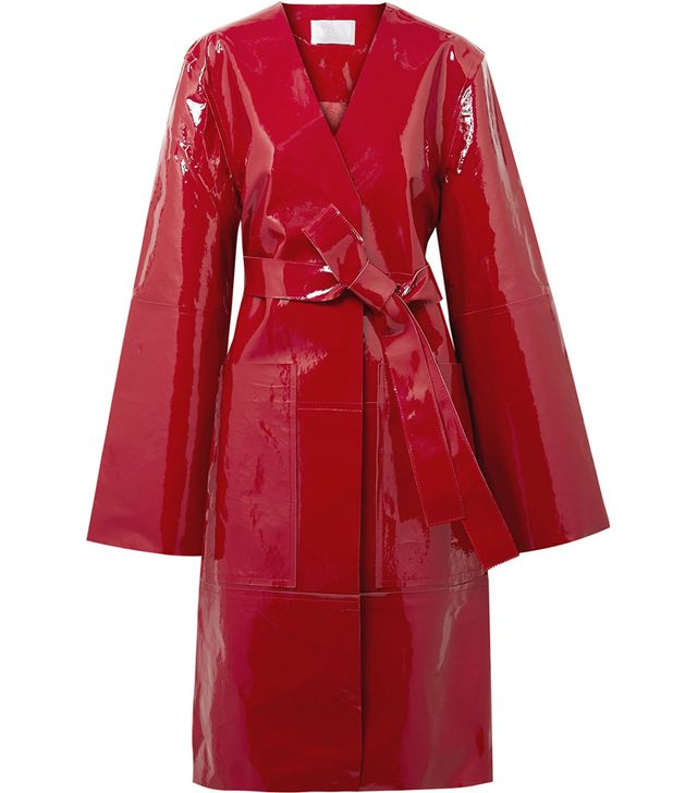 Safina Belted Patent-leather Coat