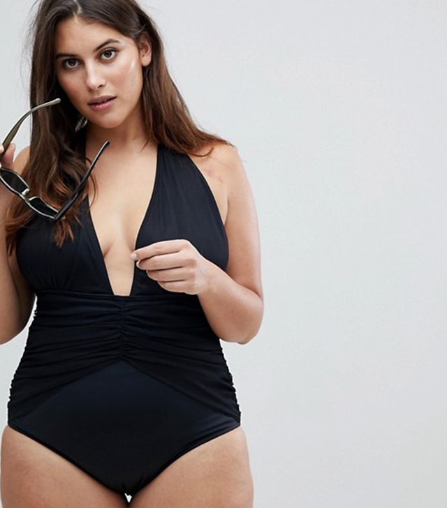 ASOS CURVE Ruched Waist Plunge Swimsuit