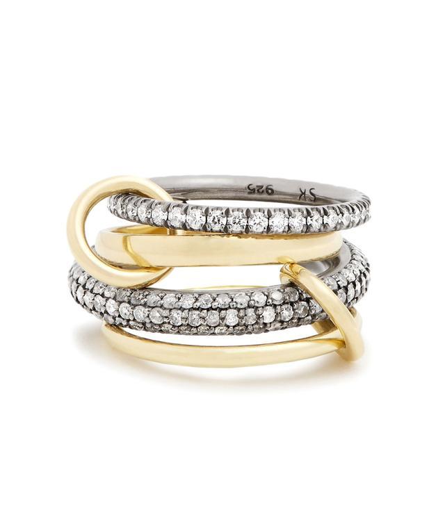 Vega diamond, silver & yellow-gold ring