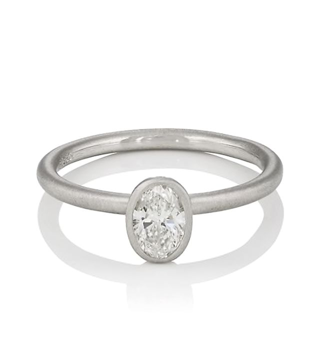 Women's Oval-Shaped White Diamond Ring
