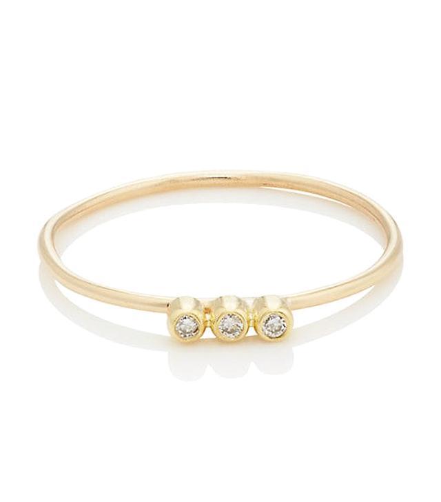 Women's Bezel-Set White Diamond & Yellow Gold Ring