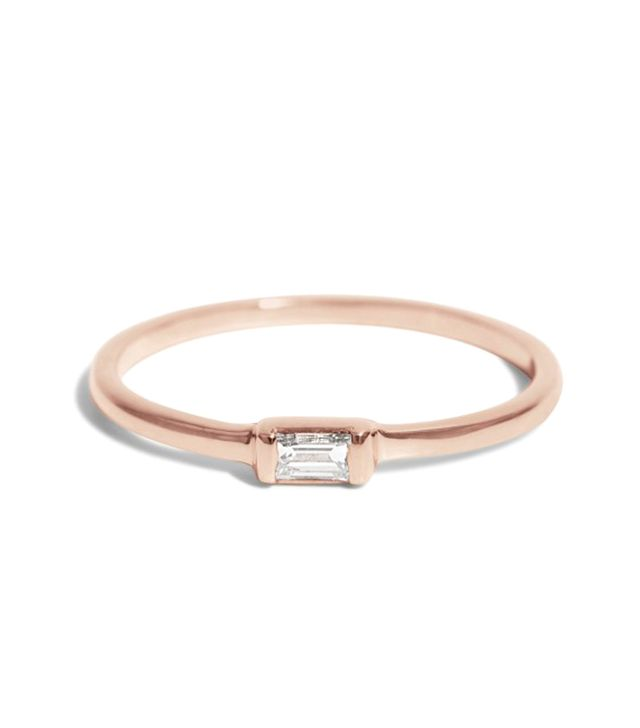 Bario Neal Baguette Solitaire Ring