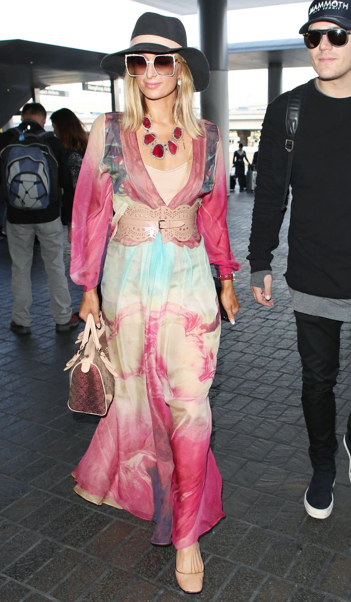 Paris Hilton Style Over The Years: Boho maxi dress