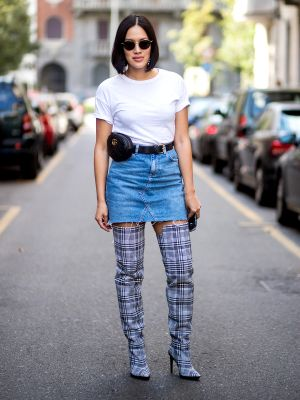 7 Jean Skirt Outfits We'll Be Wearing This Spring