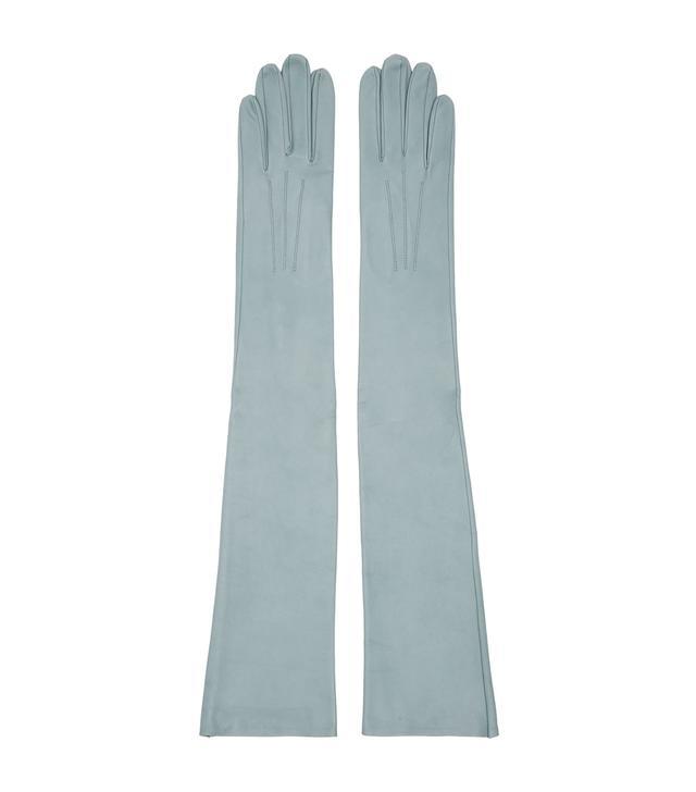 Erdem Blue Leather Midi Gloves