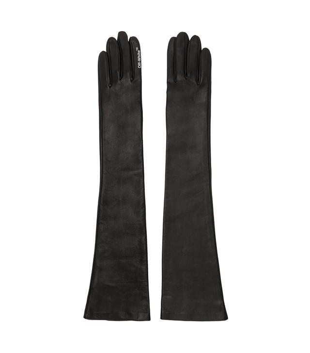 Off-White Black Leather Gloves