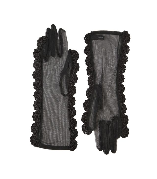 GLOVES WITH CROCHETED TRIM