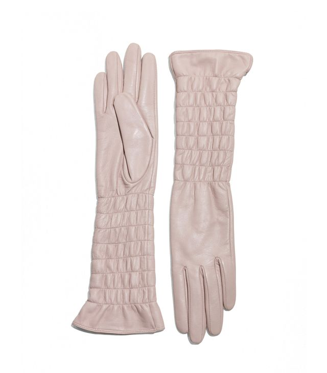 Smocked Leather Gloves