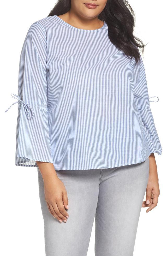 Plus Size Women's Glamorous Bell Sleeve Stripe Blouse