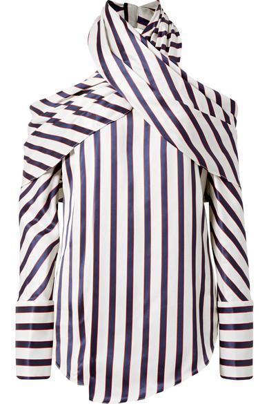 Asymmetric Striped Twill Blouse