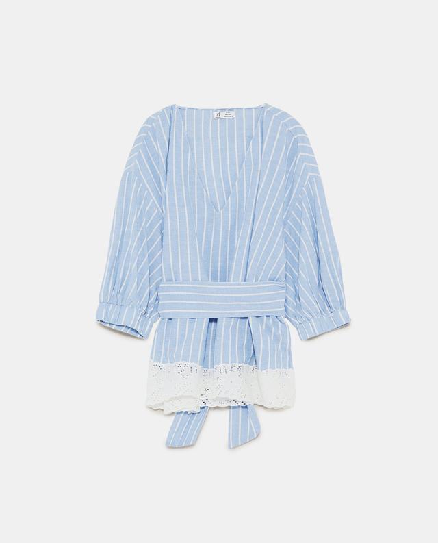 Zara Striped V-Neck Top