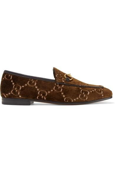 Jordaan Horsebit-detailed Leather-trimmed Logo-jacquard Loafers