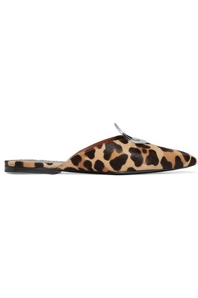 Eyelet-embellished Leopard-print Calf Hair Slippers