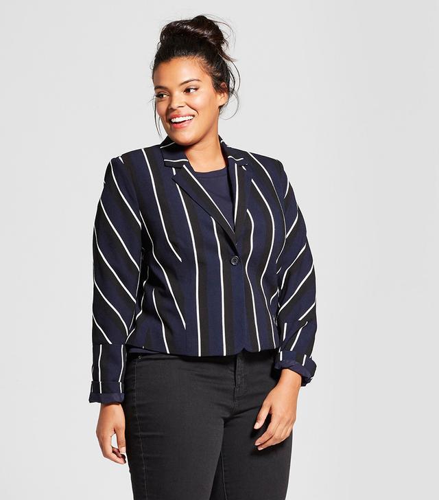 Plus Size Long Sleeve Stripe Blazer