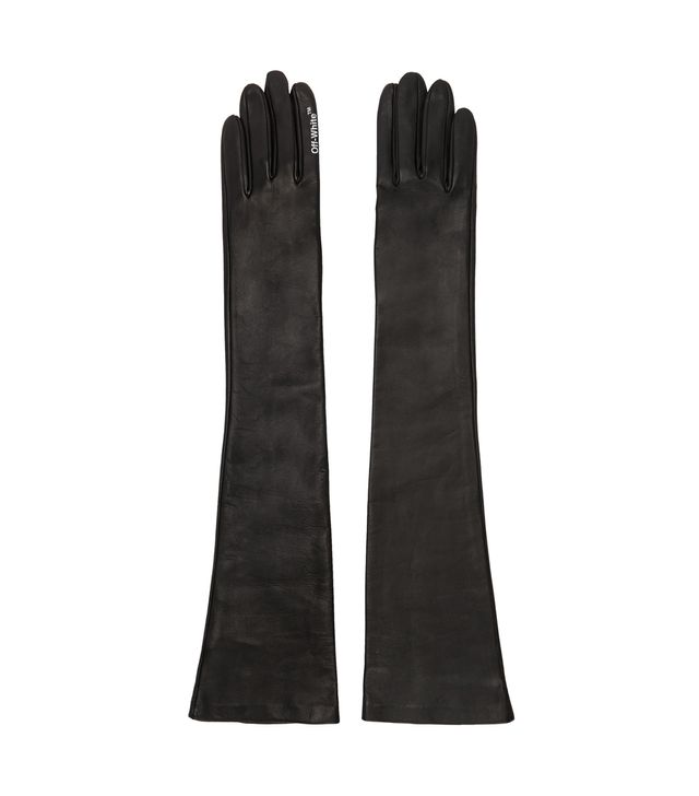 Off-White Black Leather Gloves