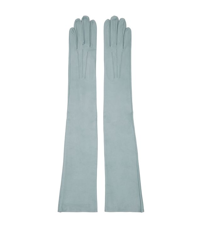 Erdem Blue Leather Midi Gloves