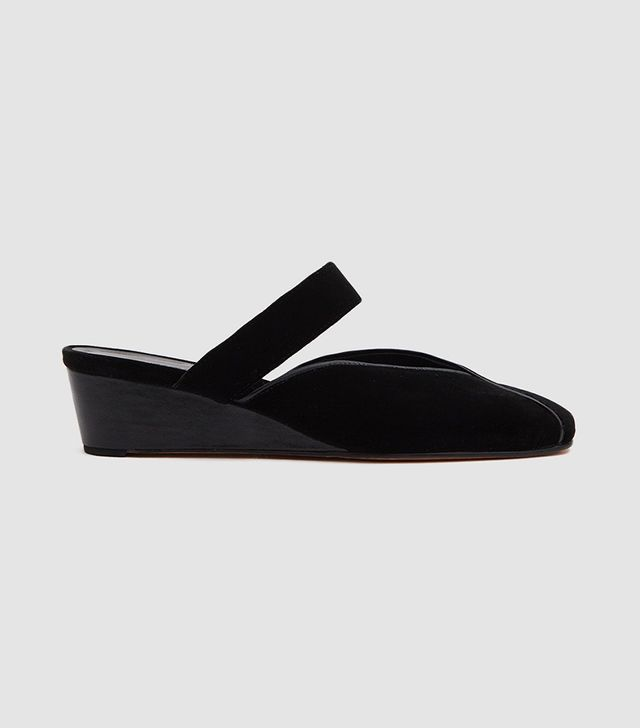 Babouche Slide in Black Velvet