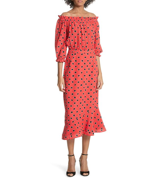 Women's Saloni Grace Print Silk Off The Shoulder Dress