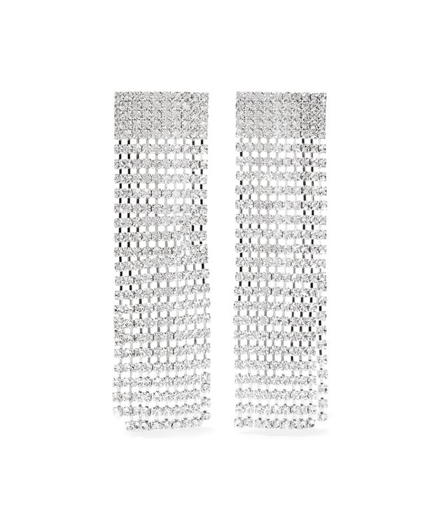 Fringed Silver-tone Crystal Clip Earrings