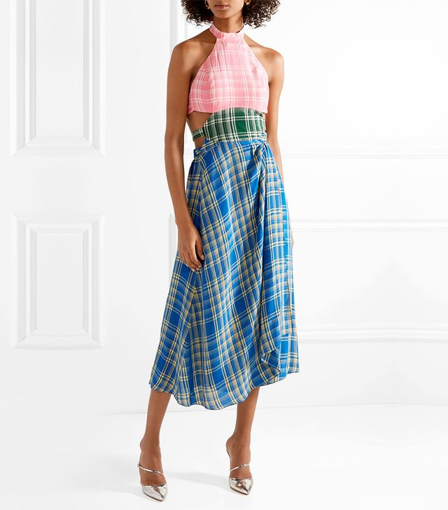 Cutout Checked Voile Midi Dress