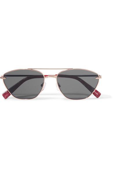 Johnson Aviator-style Rose Gold-tone Sunglasses