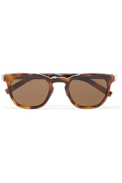 Round-frame Tortoiseshell Acetate And Silver-tone Sunglasses