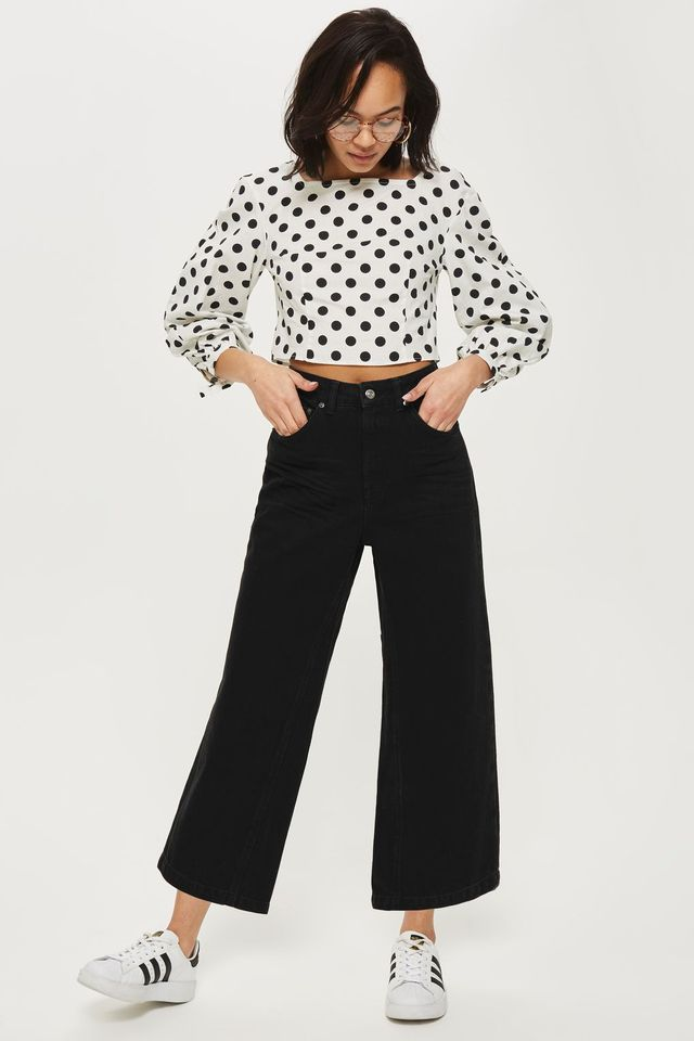 Topshop Moto Clean Black Cropped Wide Leg Jeans