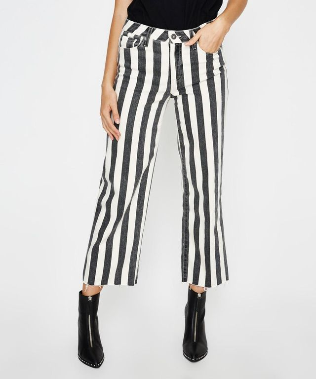 Paige Nellie Culottes in Black Ecru Stripe