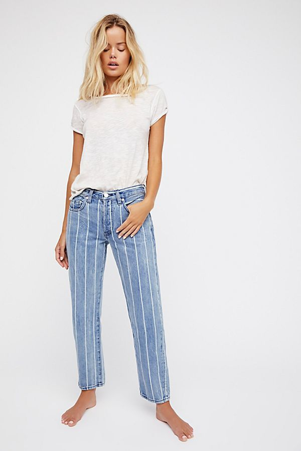 Free People Draw The Line Boyfriend Jean in Indigo Stripe Combo
