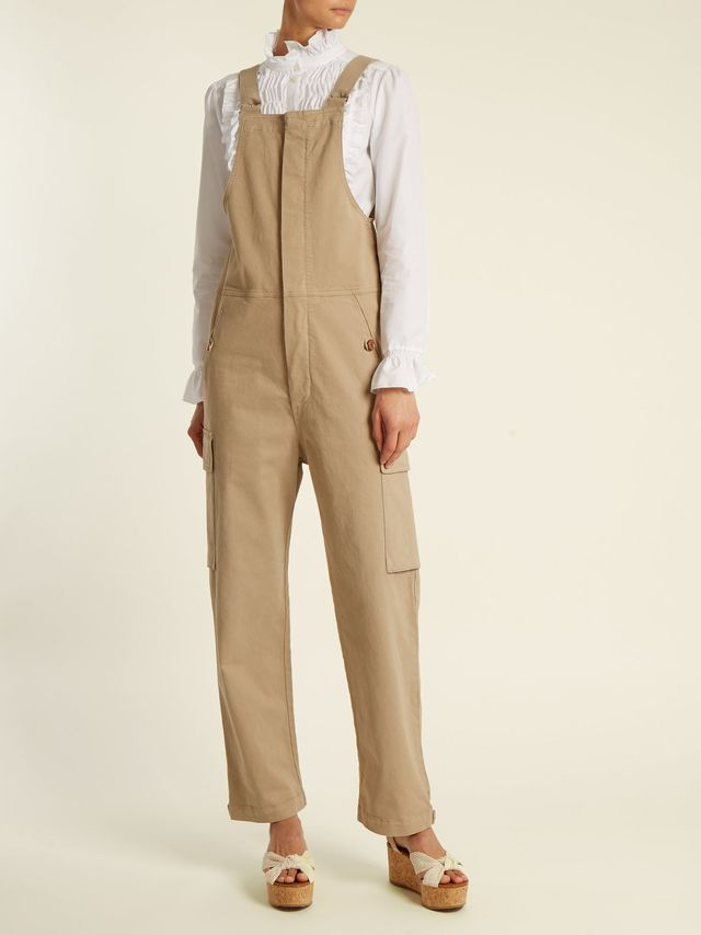 Straight-leg stretch-cotton dungarees