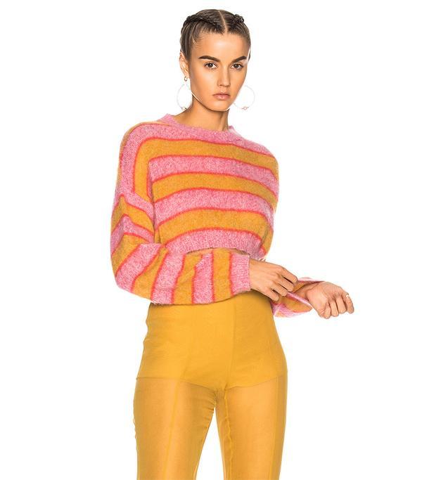 Striped Cropped Crewneck Sweater