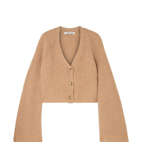 Cabot Cropped Ribbed Merino Wool and Cashmere-Blend Cardigan