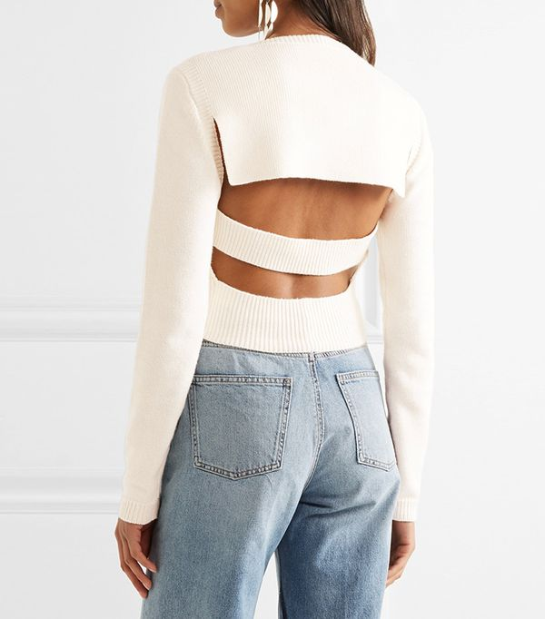 Cropped Open-back Sweater