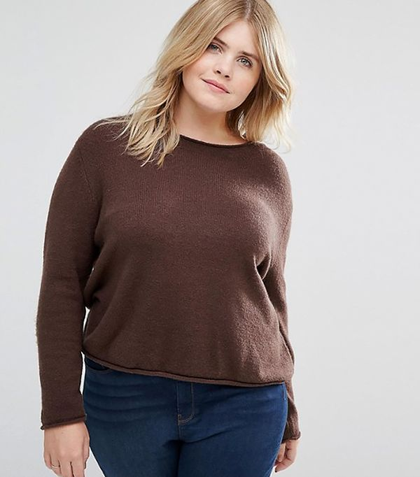 ASOS CURVE Cropped Sweater With Rolled Edge In Fluffy Yarn