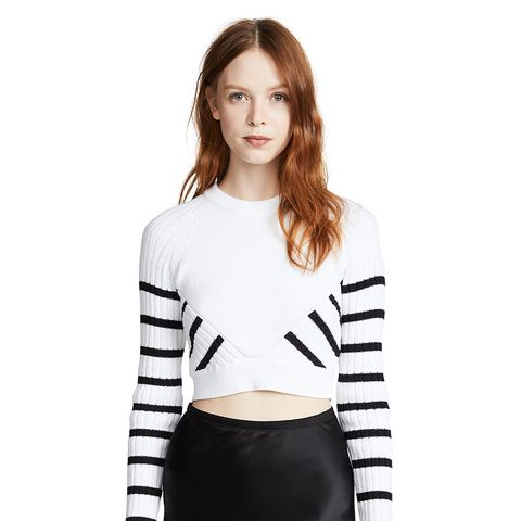 Multi Direction Striped Cropped Sweater