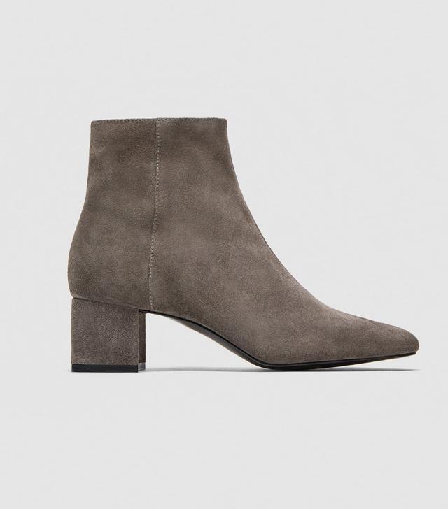 Zara Split Suede Mid-Heel Ankle Boots