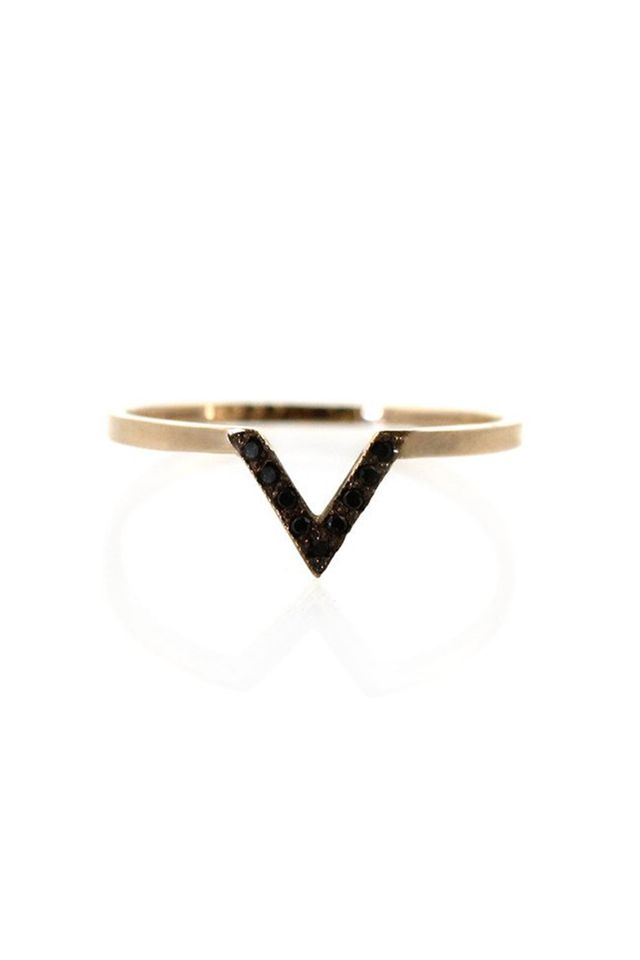 Zoë Chicco 14K Black Pave V Ring