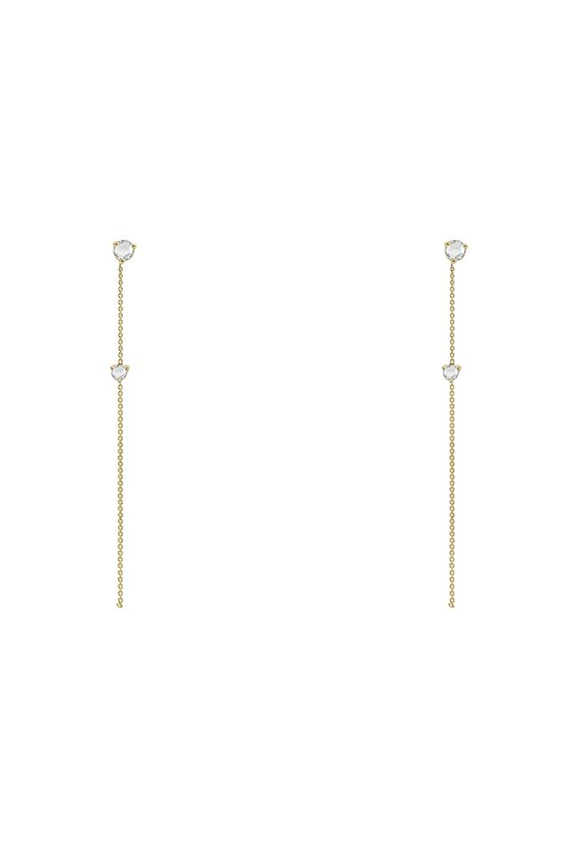 Wwake Rose Cut Two-Stone Drop Earrings