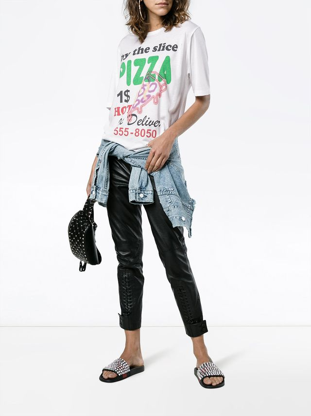 Filles A Papa Pizza Print Cotton T Shirt