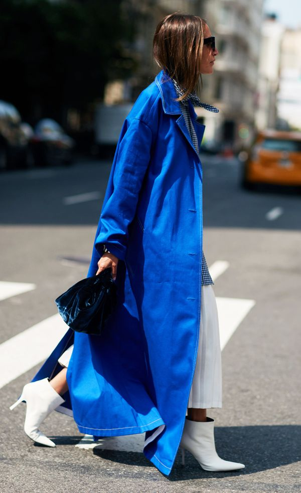 Autumn Outfit Ideas: Blue coat and white boots