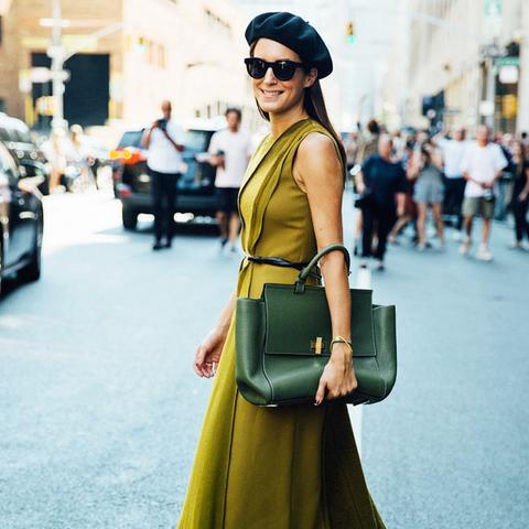 Autumn Outfit Ideas: Beret + Smart Dress + Flats