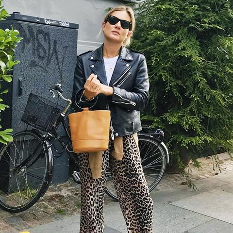 Autumn Outfit Ideas: Biker + PJ Trousers + Tee