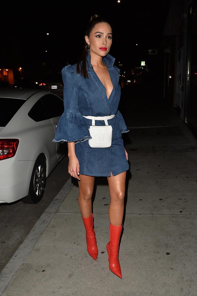 Denim Dress + Belt Bag + Bright Ankle Boots
