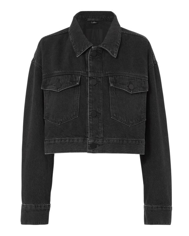 Alexander Wang Oversized Faded Black Denim Crop Jacket Grey M
